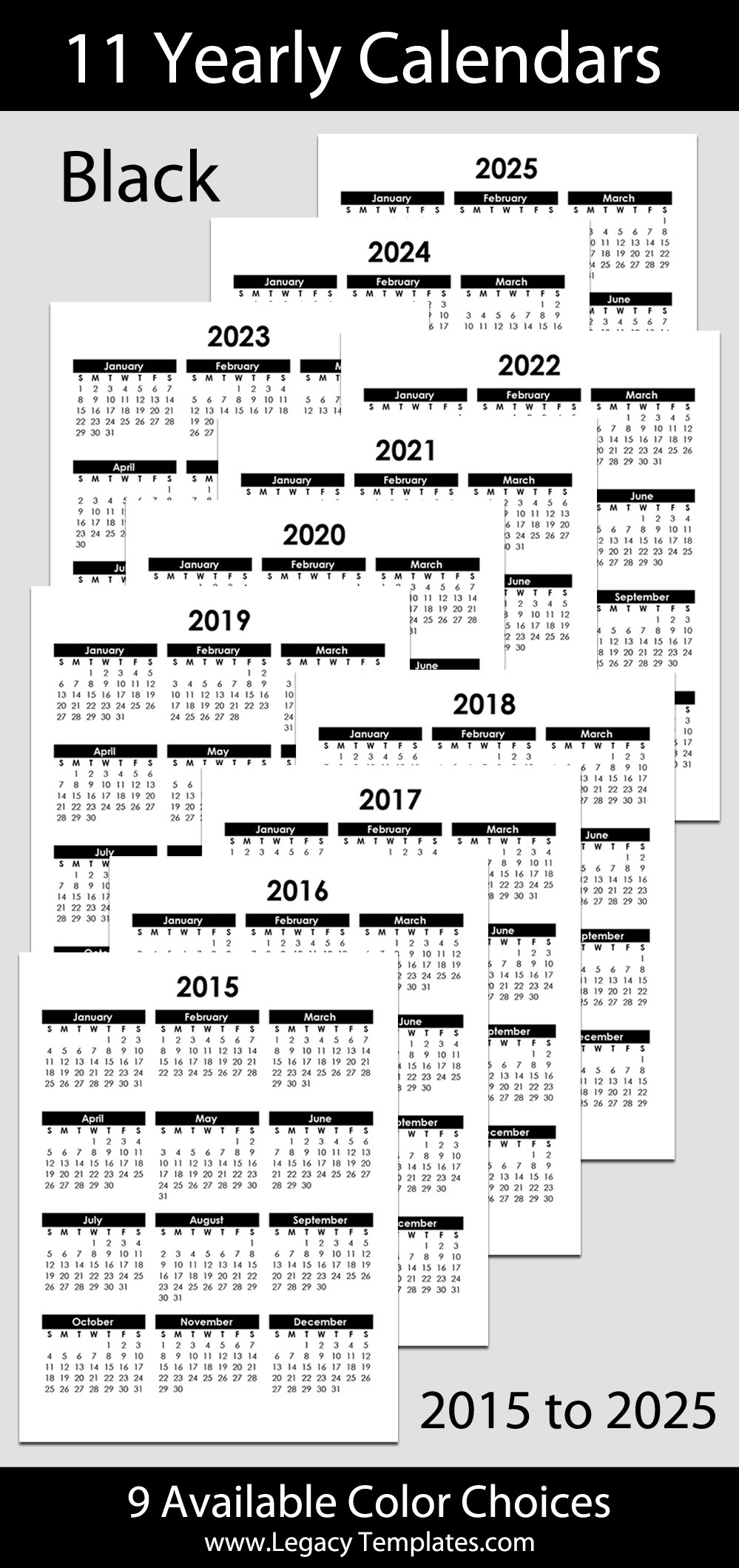 "2015 To 2025 Yearly Calendar - 8 1/2"" X 11"" 