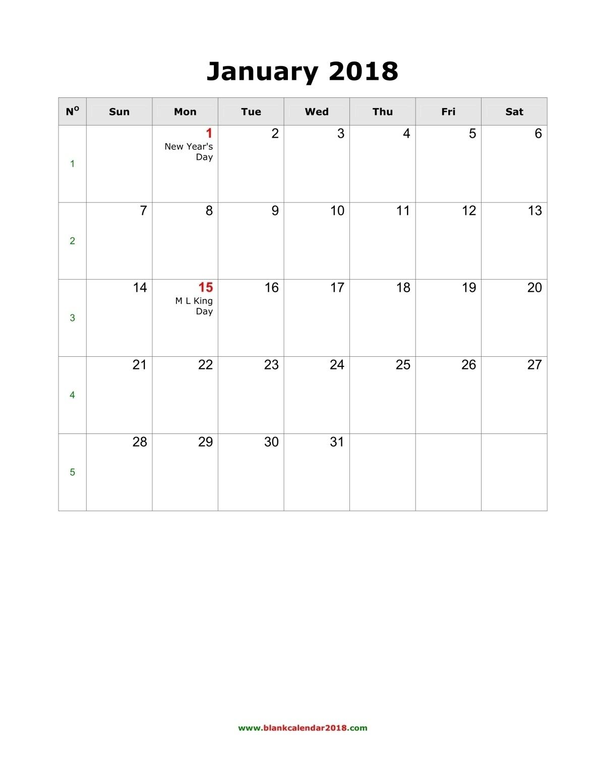 2018 Blank Printable Calendars – Template Calendar Design