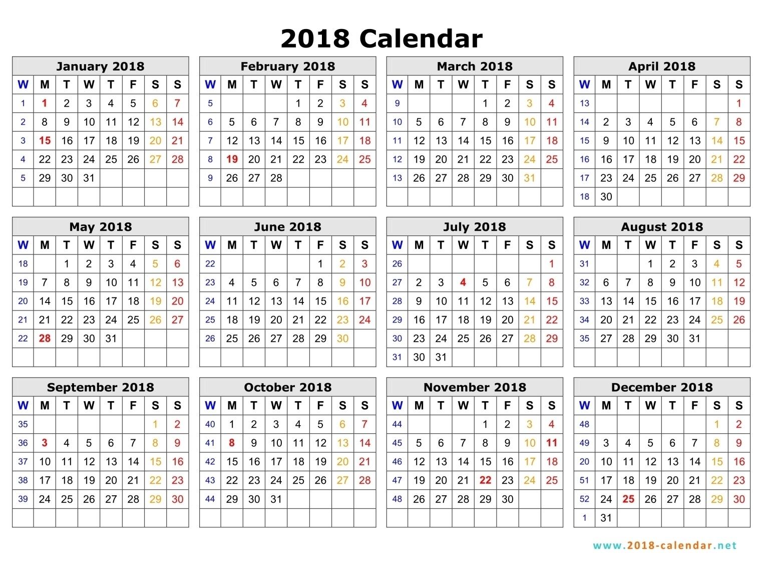 2018 Calendar Monday To Sunday Australia – Template