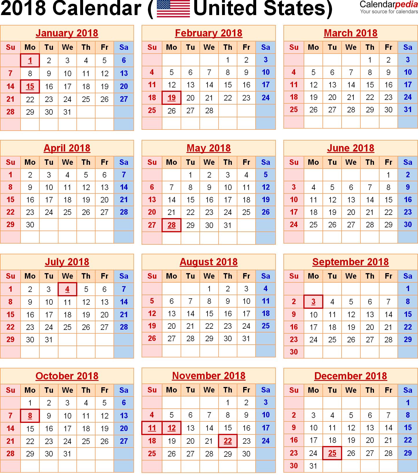 2018 Calendar United States Holidays | Holiday Calendar