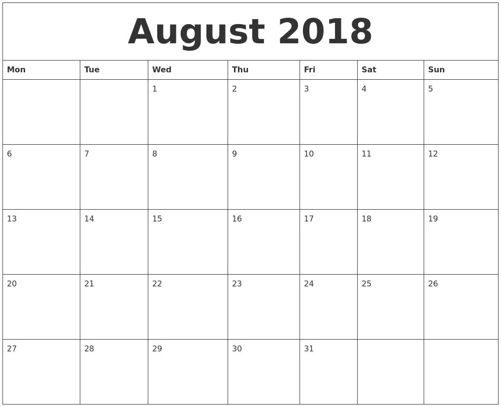 2018 Editable Calendar Printable – Template Calendar Design