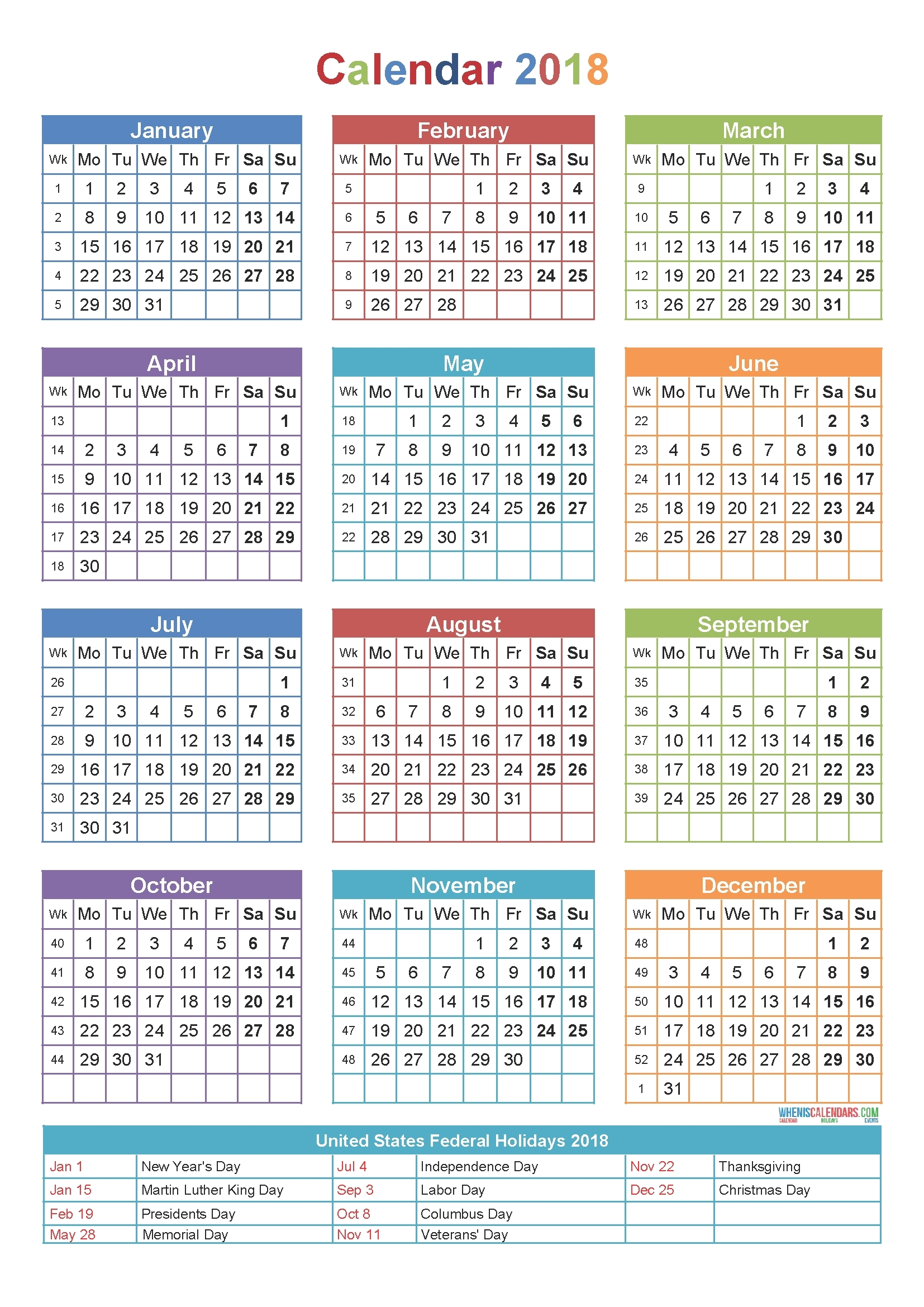 2018 Printable Calendar With Holidays One Page – Template