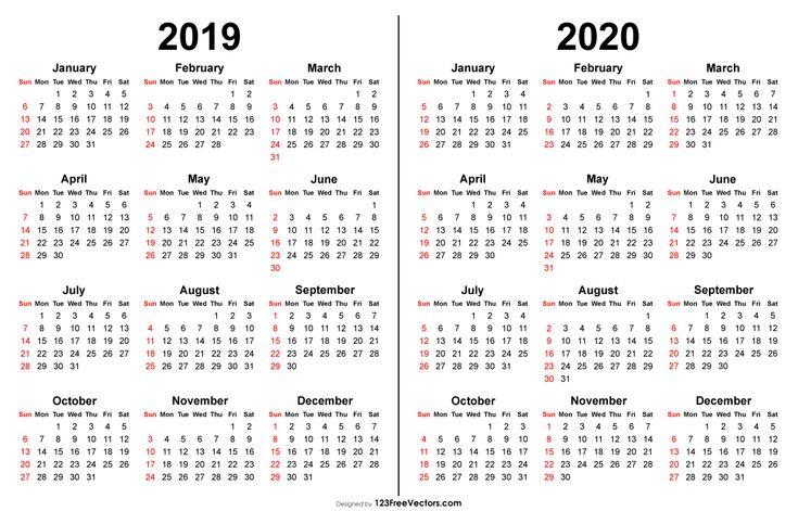 2019 2020 Calendar | Printable Calendar Template, Print