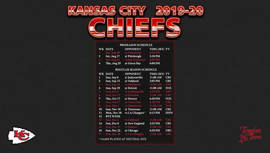 2019-2020 Kansas City Chiefs Wallpaper Schedule