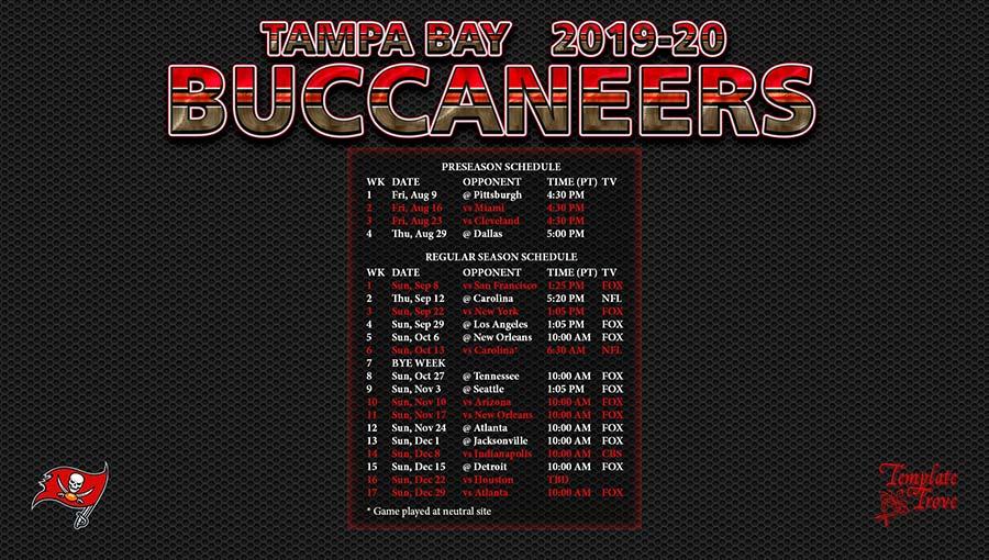 2019-2020 Tampa Bay Buccaneers Wallpaper Schedule