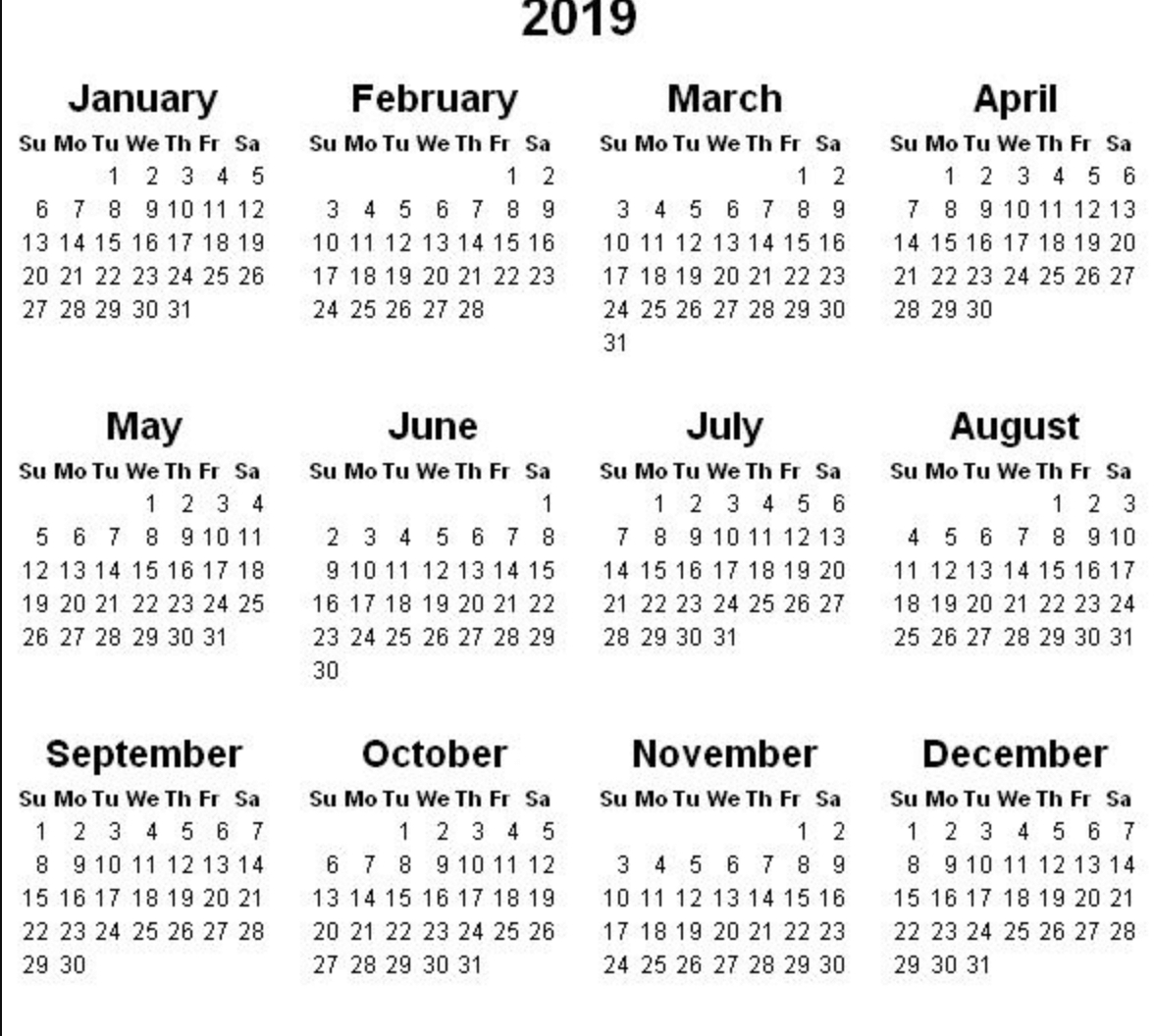 2019 Calendar - Amazonaws