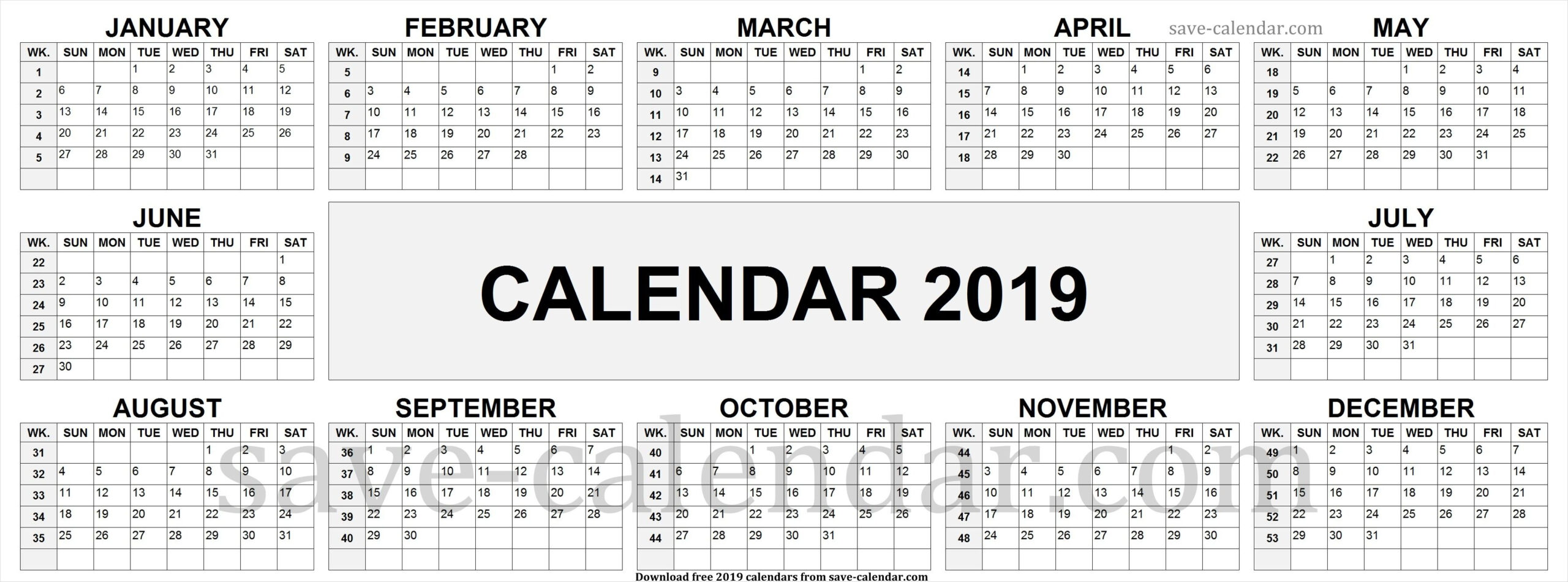 2019 Calendar By Week Numbers | Week Number, Calendar 2019