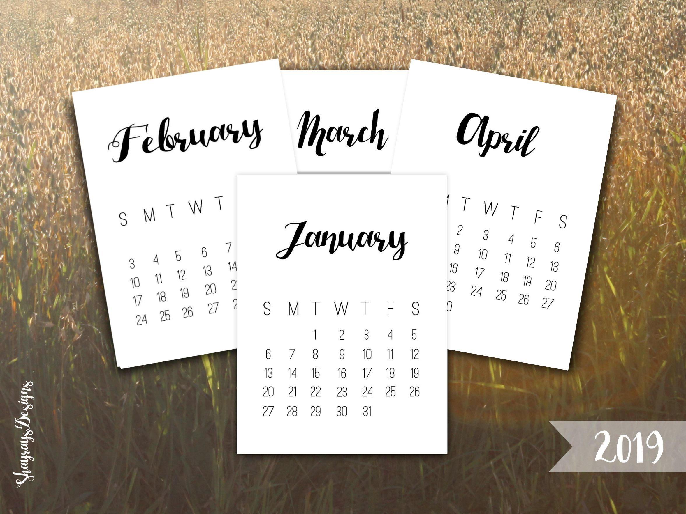 2019 Calendar Printable 3X4 Journal Cards // Desk Calendar