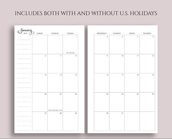 2019 Dated Monthly Printable Planner Inserts, Mo2P Sunday