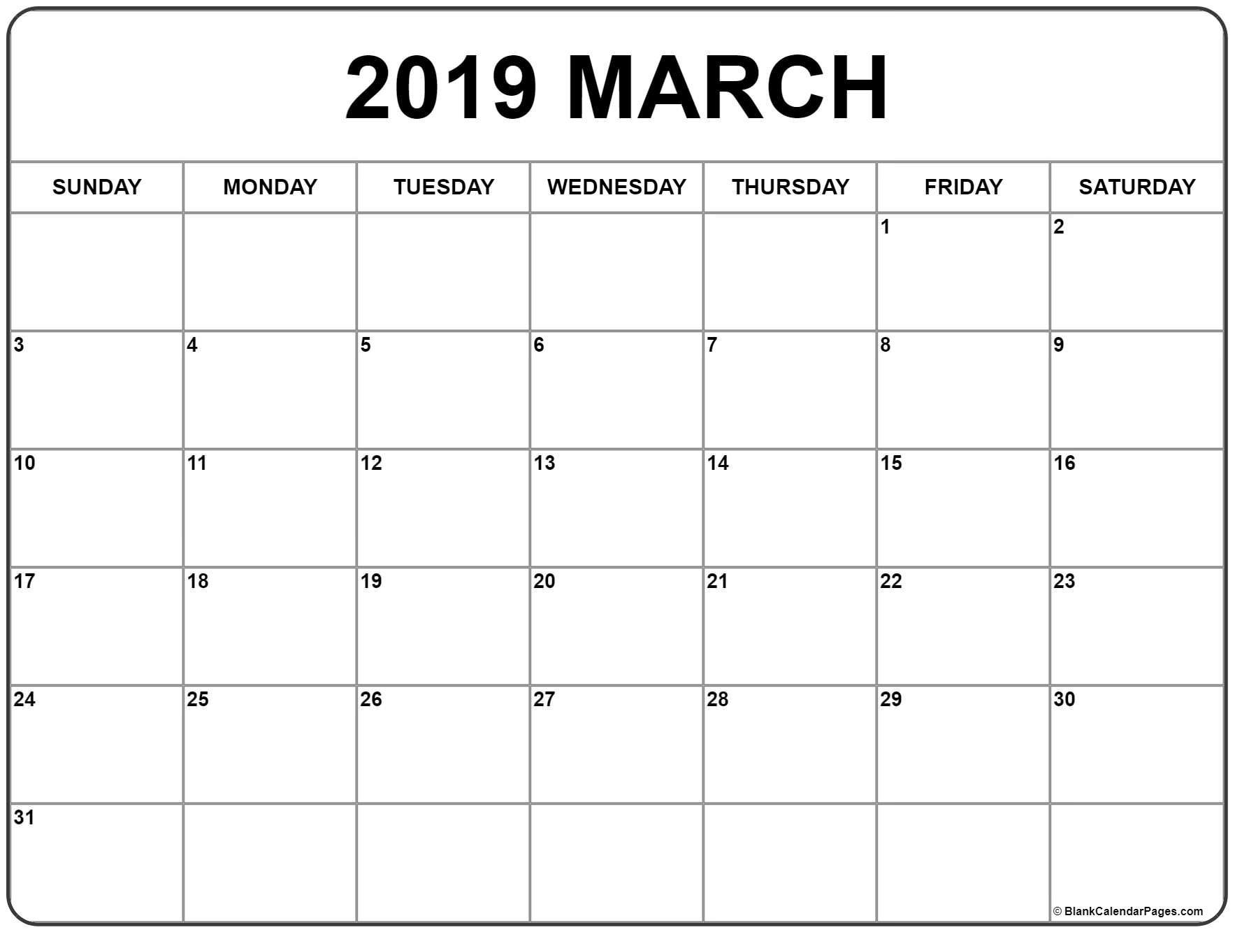 2019 Fill In Calendar Printable – Template Calendar Design