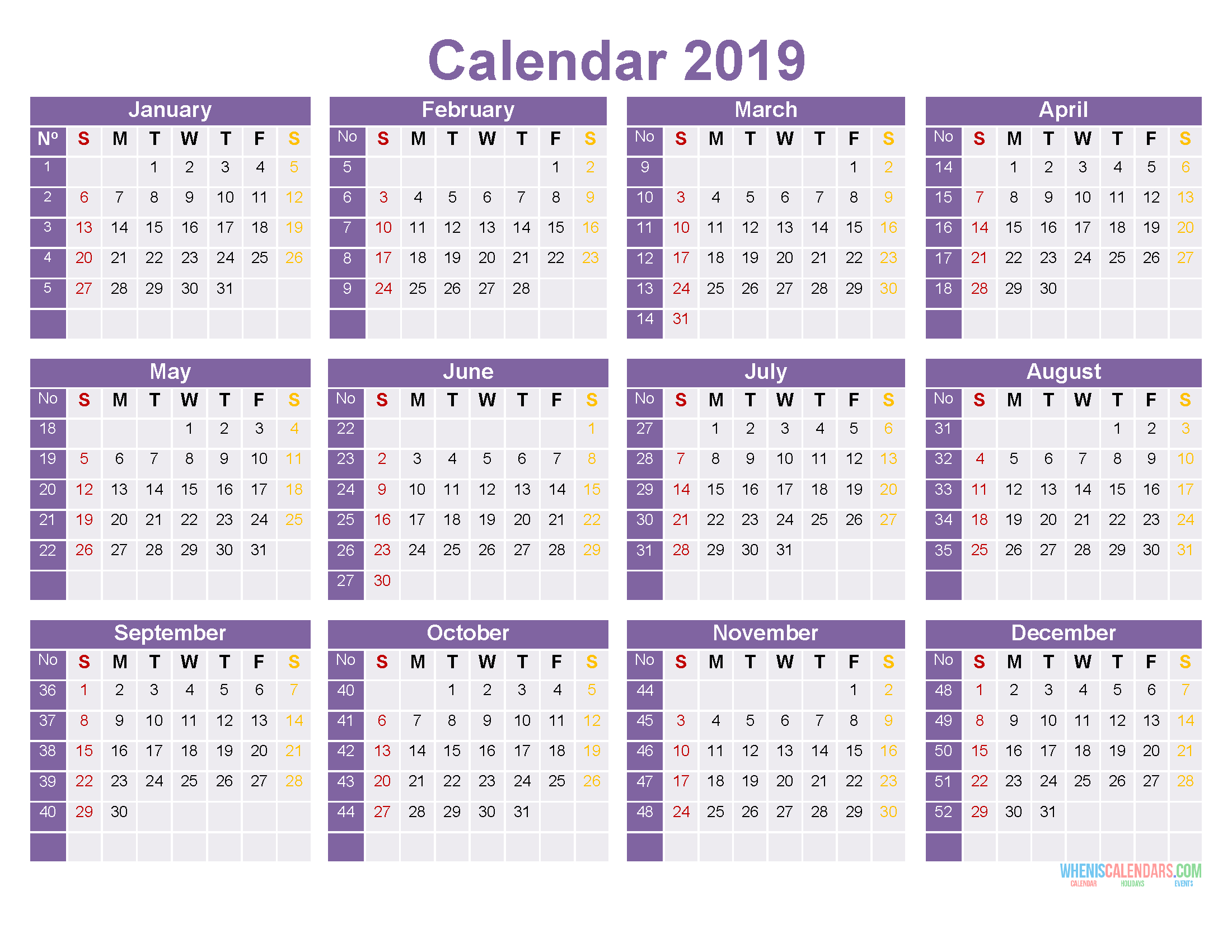 2019 Printable Yearly Calendar Template 12 Month On 1 Page