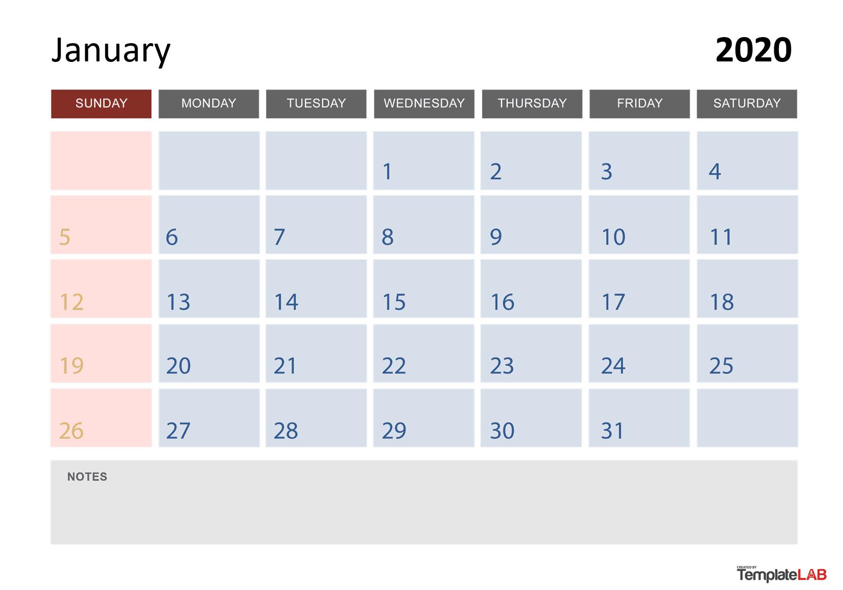 2020/2020 Calandar With Boxes | Calendar Template