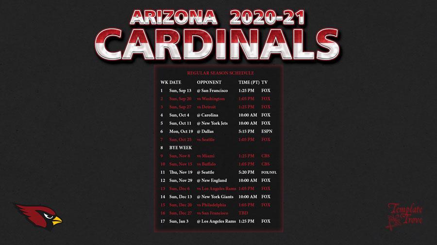 2020-2021 Arizona Cardinals Wallpaper Schedule