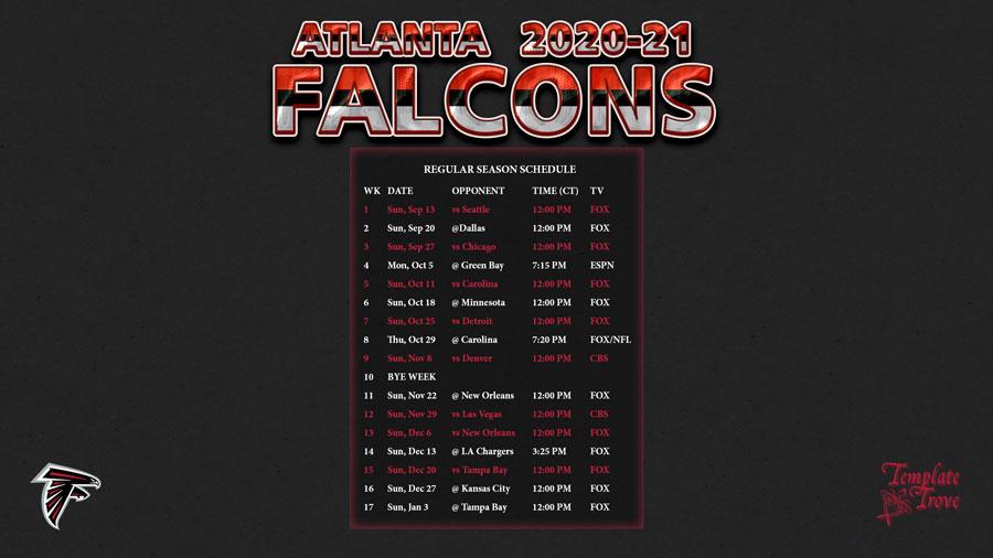 2020-2021 Atlanta Falcons Wallpaper Schedule