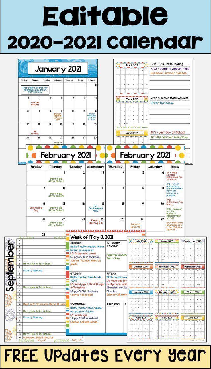 2020-2021 Calendar Printable And Editable With Free
