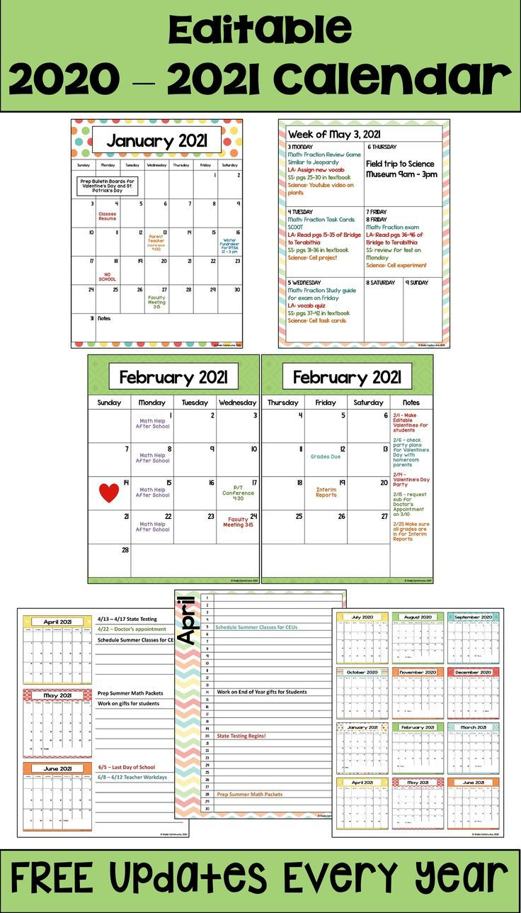 2020-2021 Calendar Printable And Editable With Free