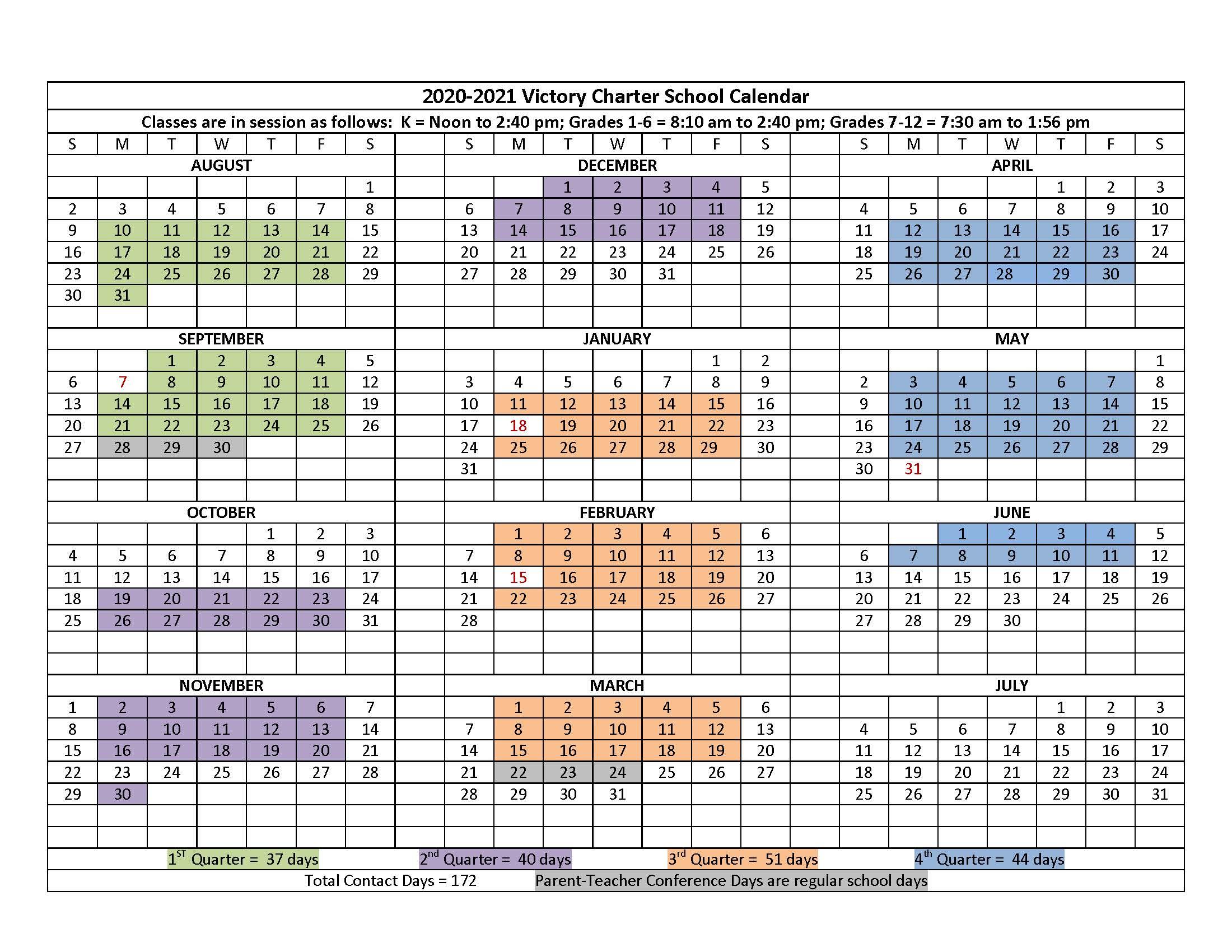 2020-2021 Calendar | Victory Charter School