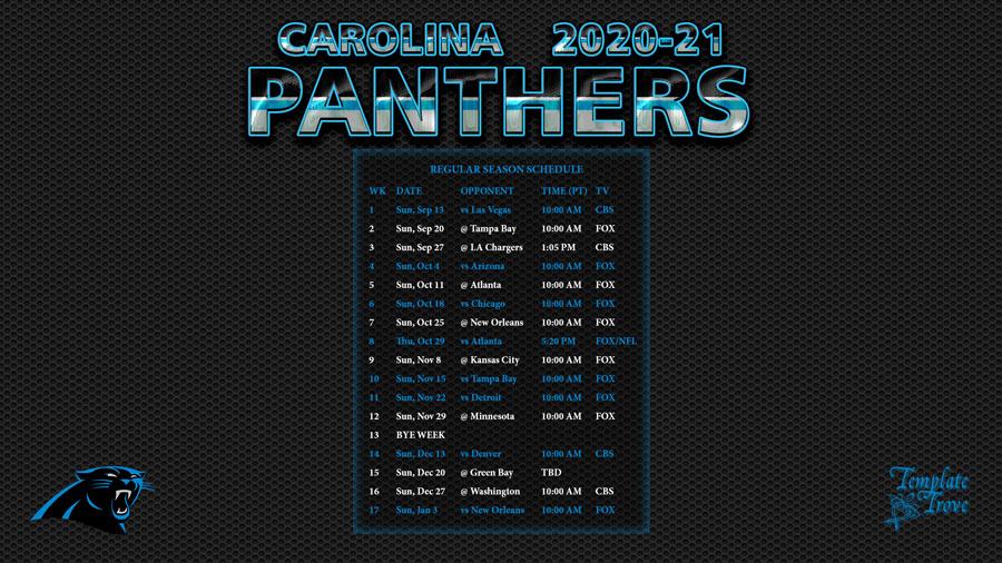 2020-2021 Carolina Panthers Wallpaper Schedule