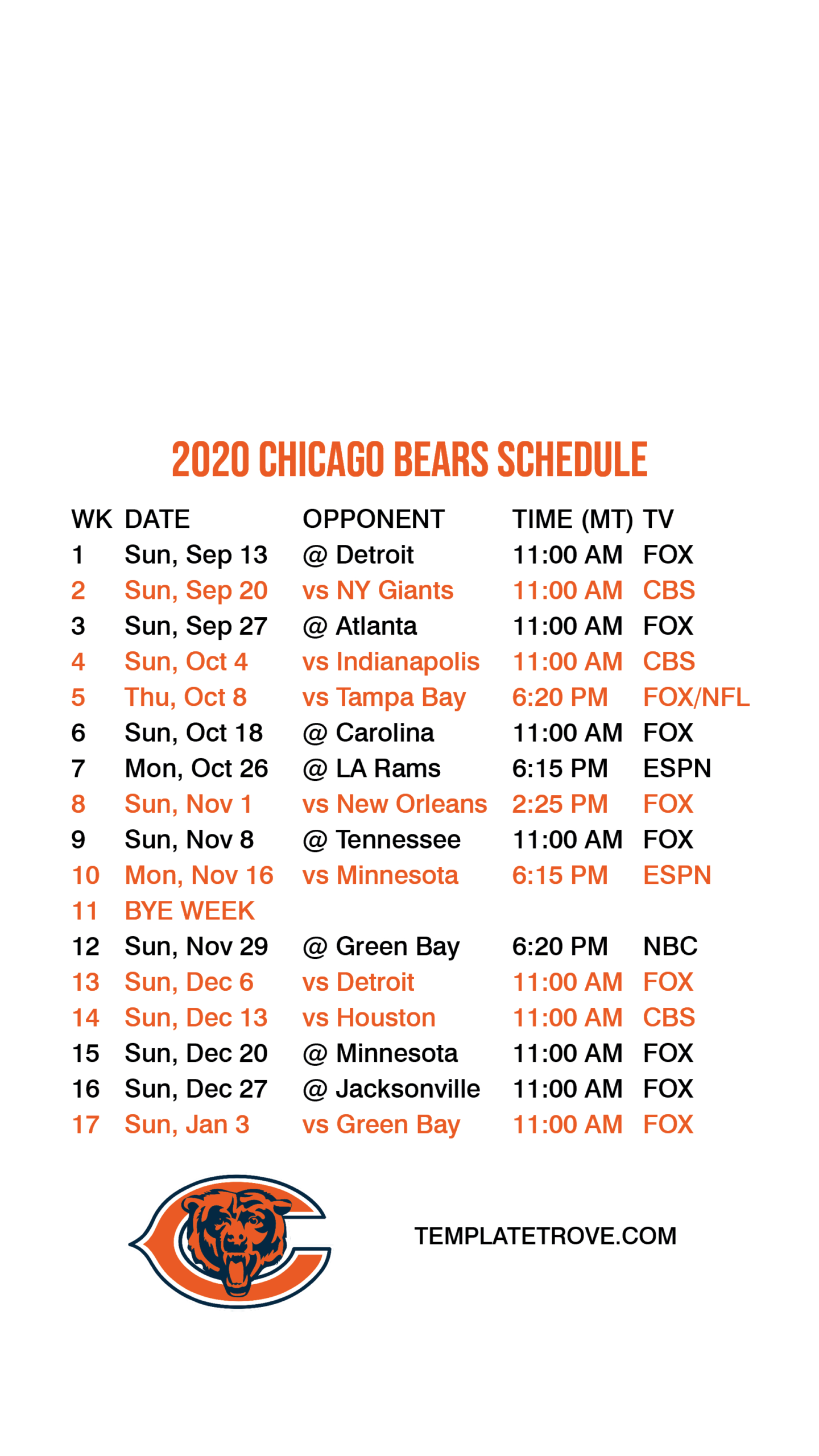 2020-2021 Chicago Bears Lock Screen Schedule For Iphone 6
