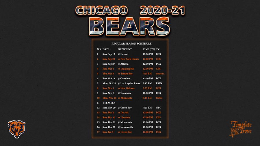 2020-2021 Chicago Bears Wallpaper Schedule
