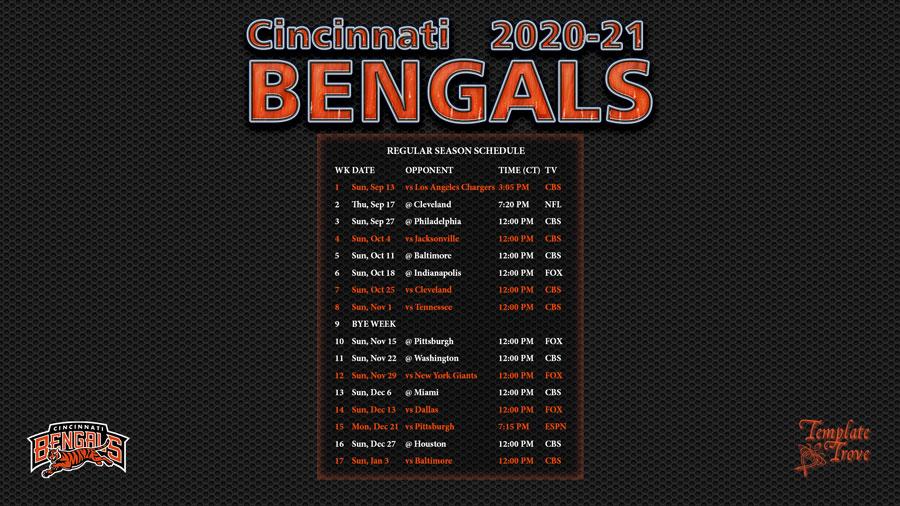 2020-2021 Cincinnati Bengals Wallpaper Schedule