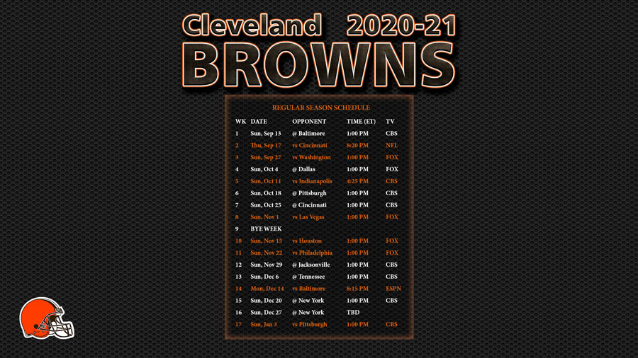 2020-2021 Cleveland Browns Wallpaper Schedule