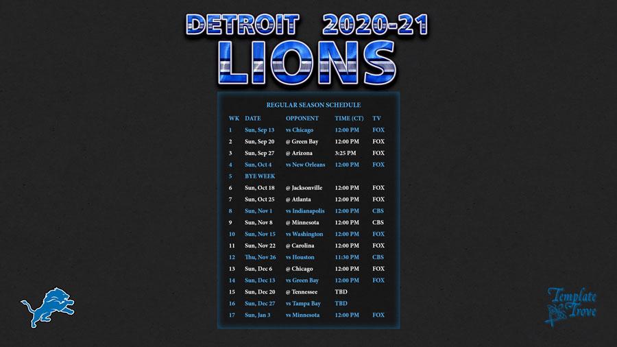 2020-2021 Detroit Lions Wallpaper Schedule