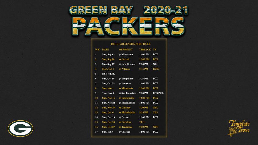 2020-2021 Green Bay Packers Wallpaper Schedule