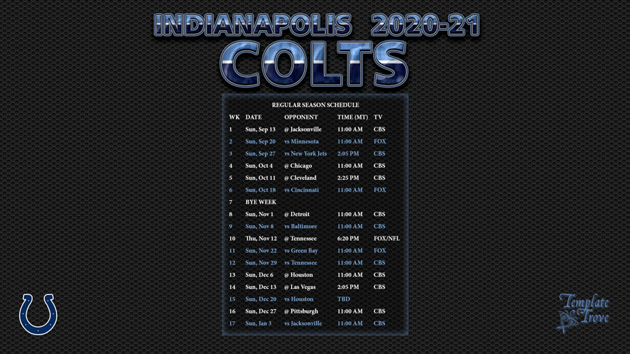 2020-2021 Indianapolis Colts Wallpaper Schedule