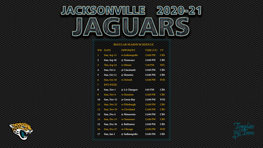 2020-2021 Jacksonville Jaguars Wallpaper Schedule