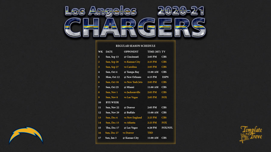 2020-2021 Los Angeles Chargers Wallpaper Schedule