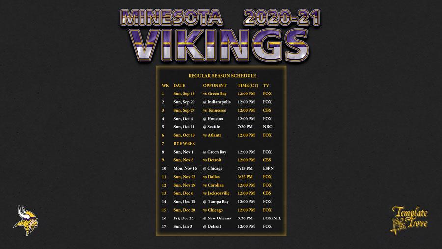 2020-2021 Minnesota Vikings Wallpaper Schedule