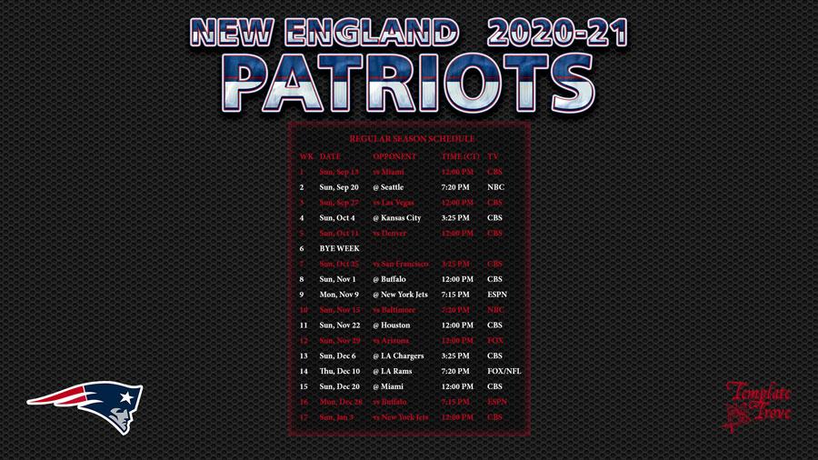 2020-2021 New England Patriots Wallpaper Schedule