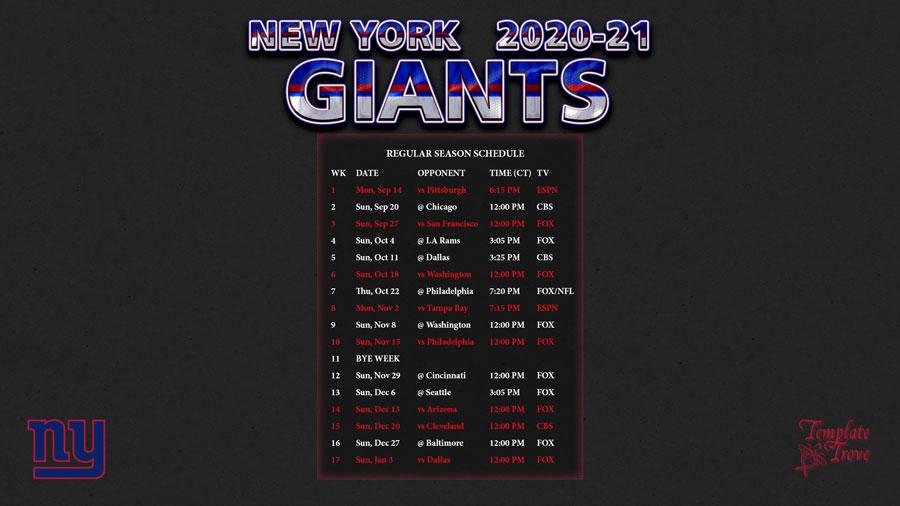 2020-2021 New York Giants Wallpaper Schedule