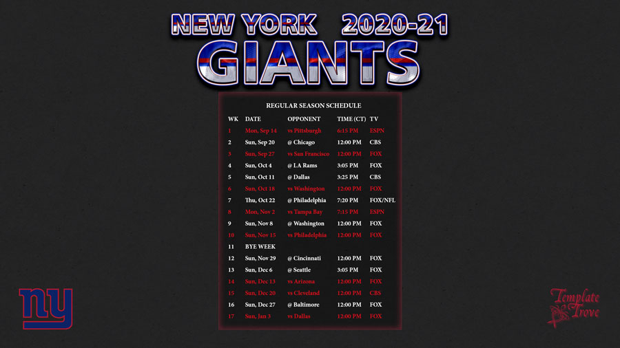 2020-2021 New York Giants Wallpaper Schedule