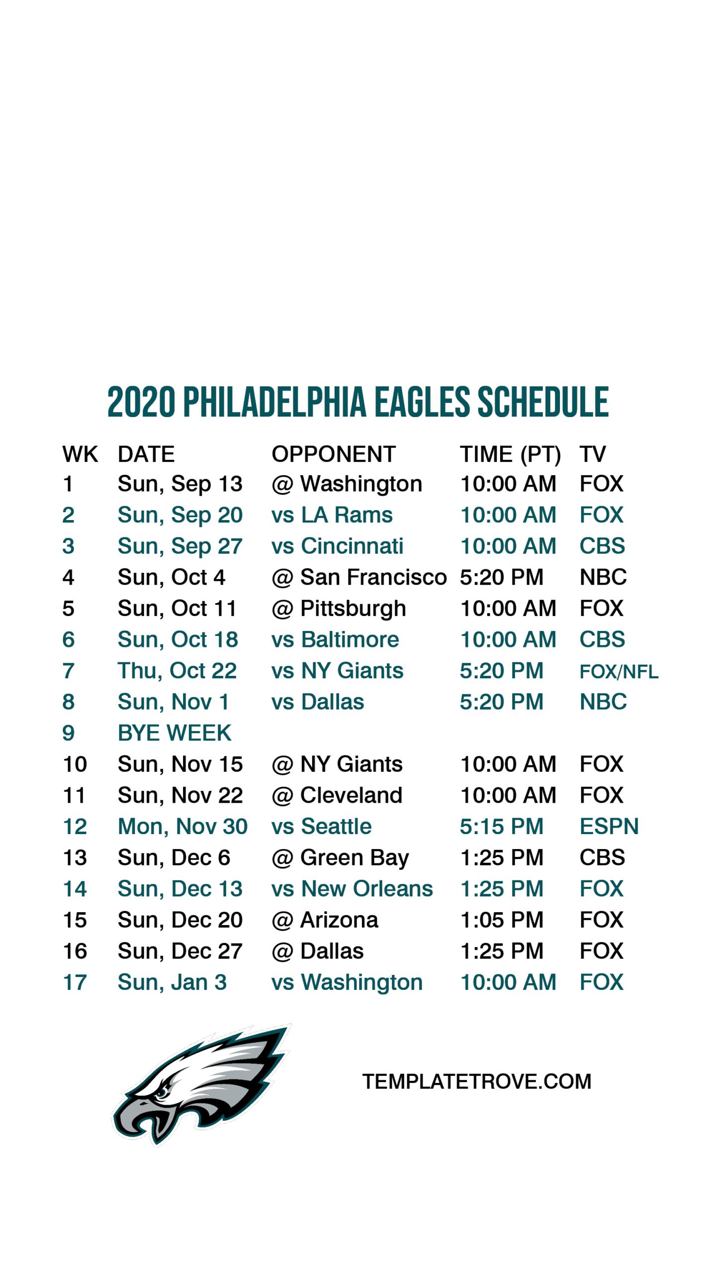 2020-2021 Philadelphia Eagles Lock Screen Schedule For