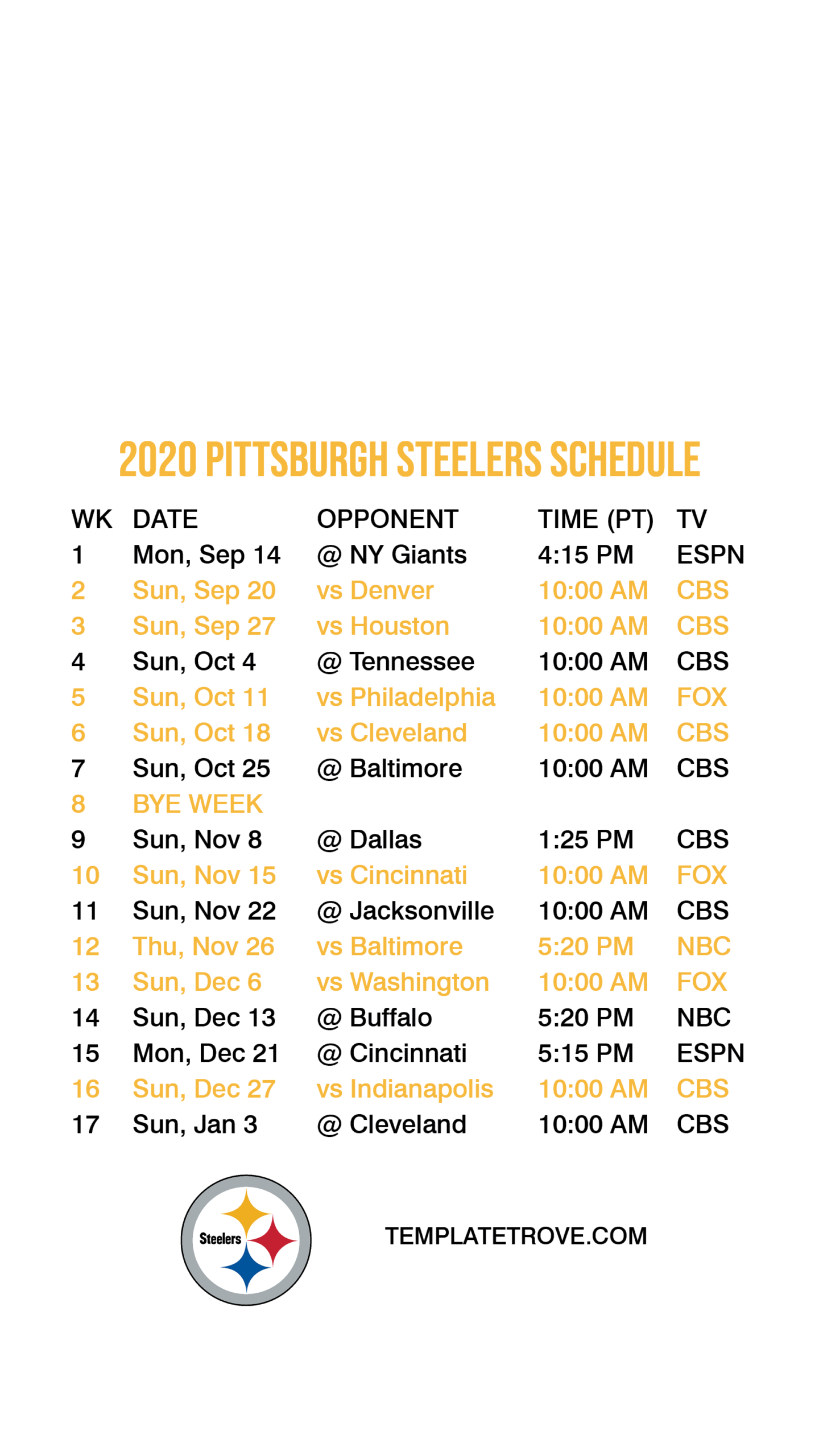 2020-2021 Pittsburgh Steelers Lock Screen Schedule For