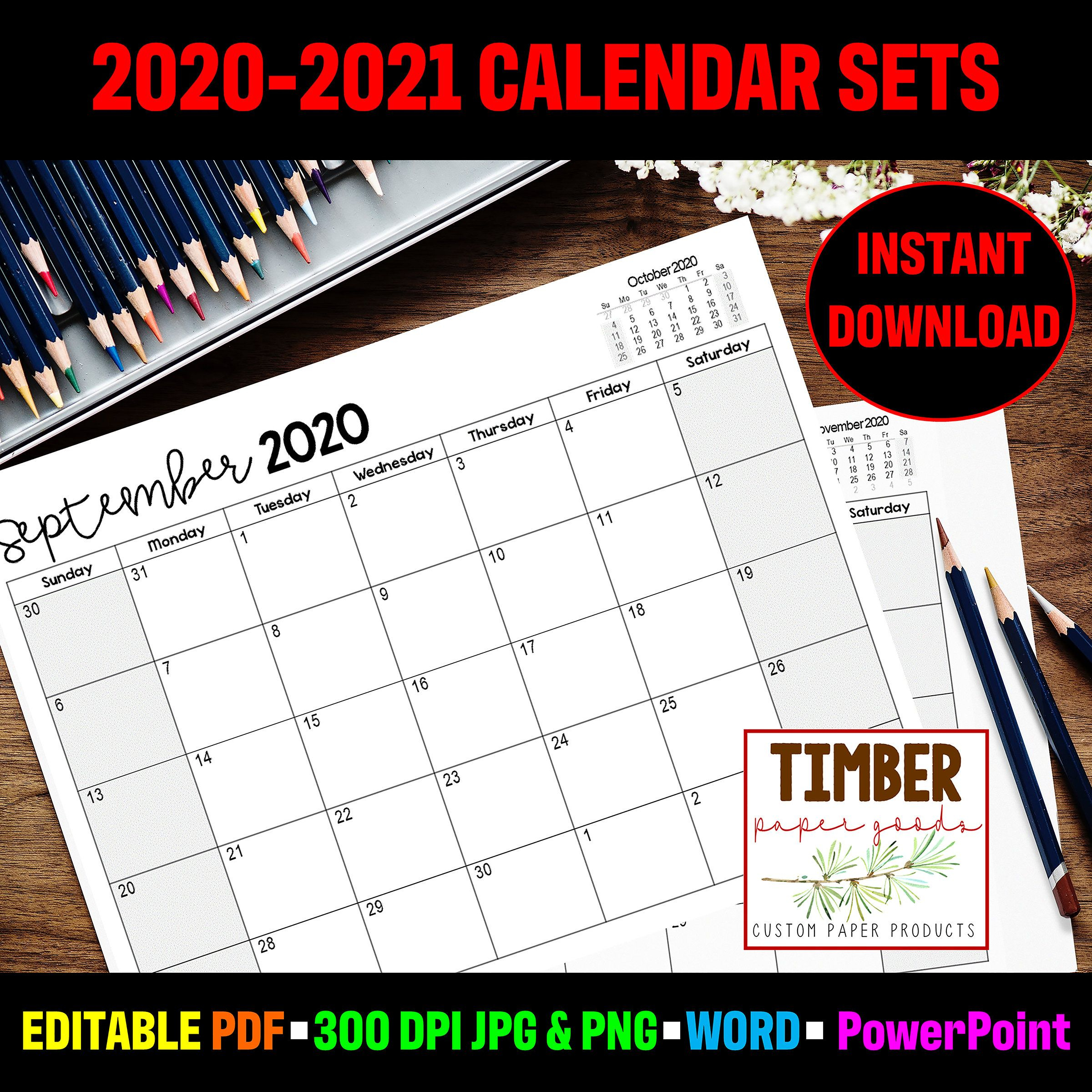 2020-2021 Printable And Editable Calendar Sets. Instant