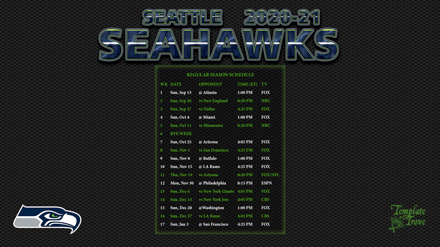 2020-2021 Seattle Seahawks Wallpaper Schedule