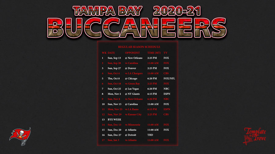 2020-2021 Tampa Bay Buccaneers Wallpaper Schedule