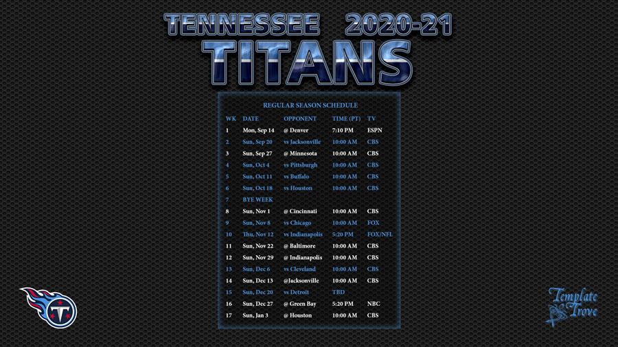 2020-2021 Tennessee Titans Wallpaper Schedule