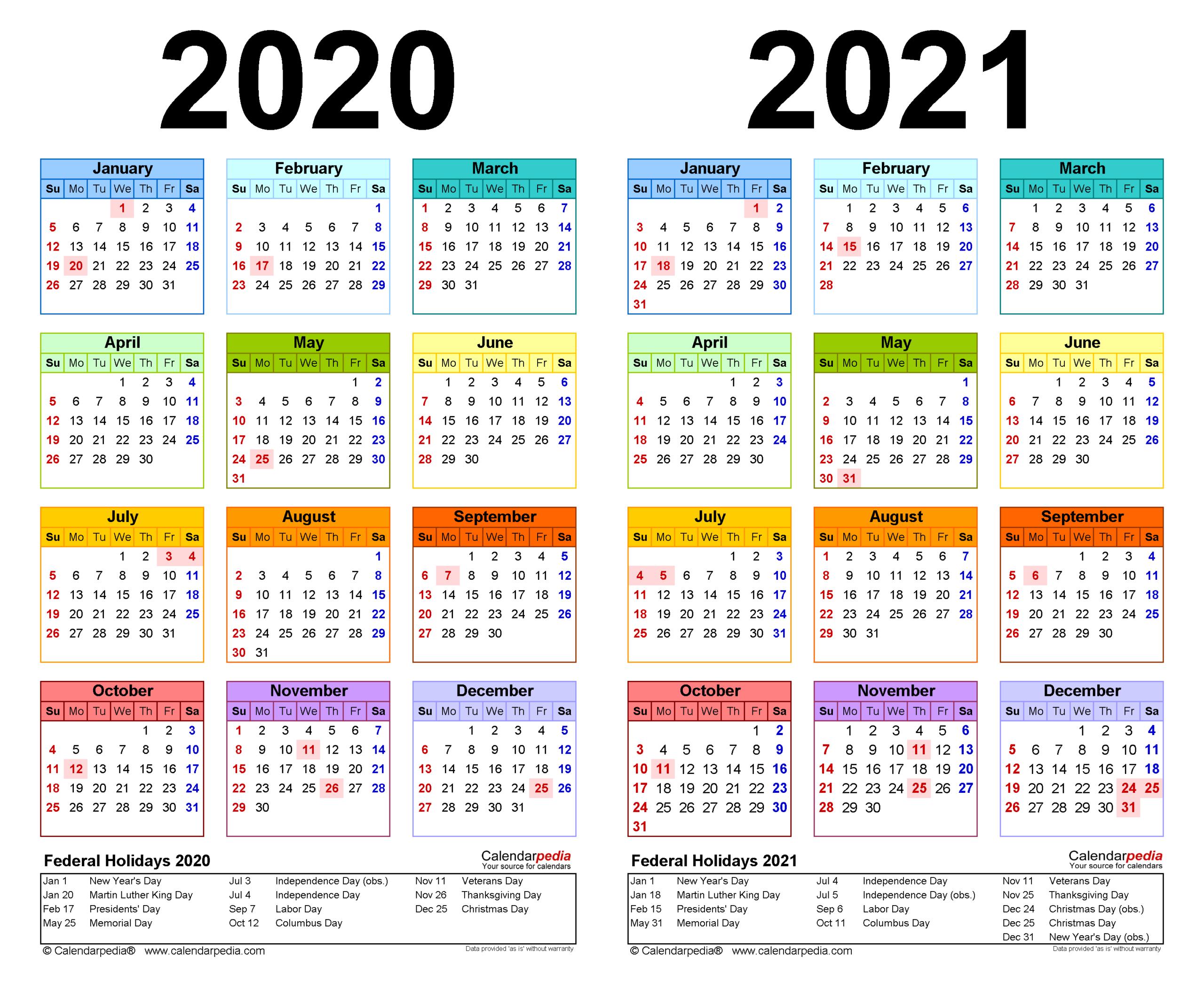 2020-2021 Two Year Calendar - Free Printable Word Templates