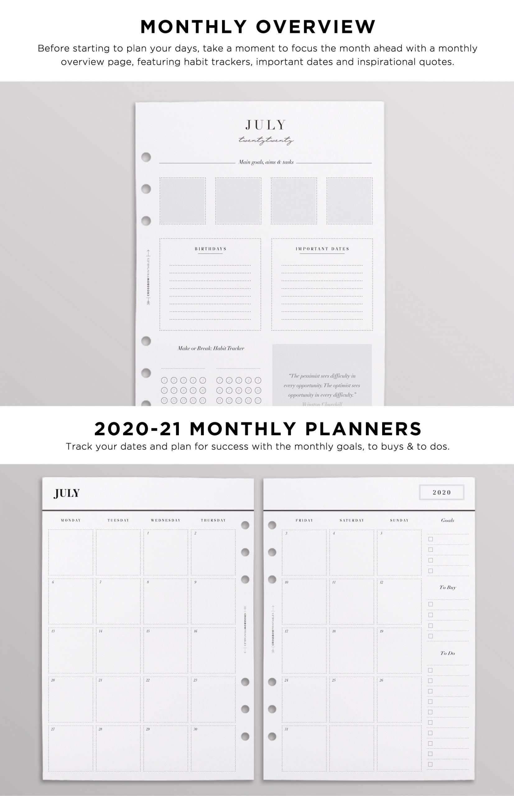 2020-21 A5 Planner Inserts | Printed Minimal Filofax