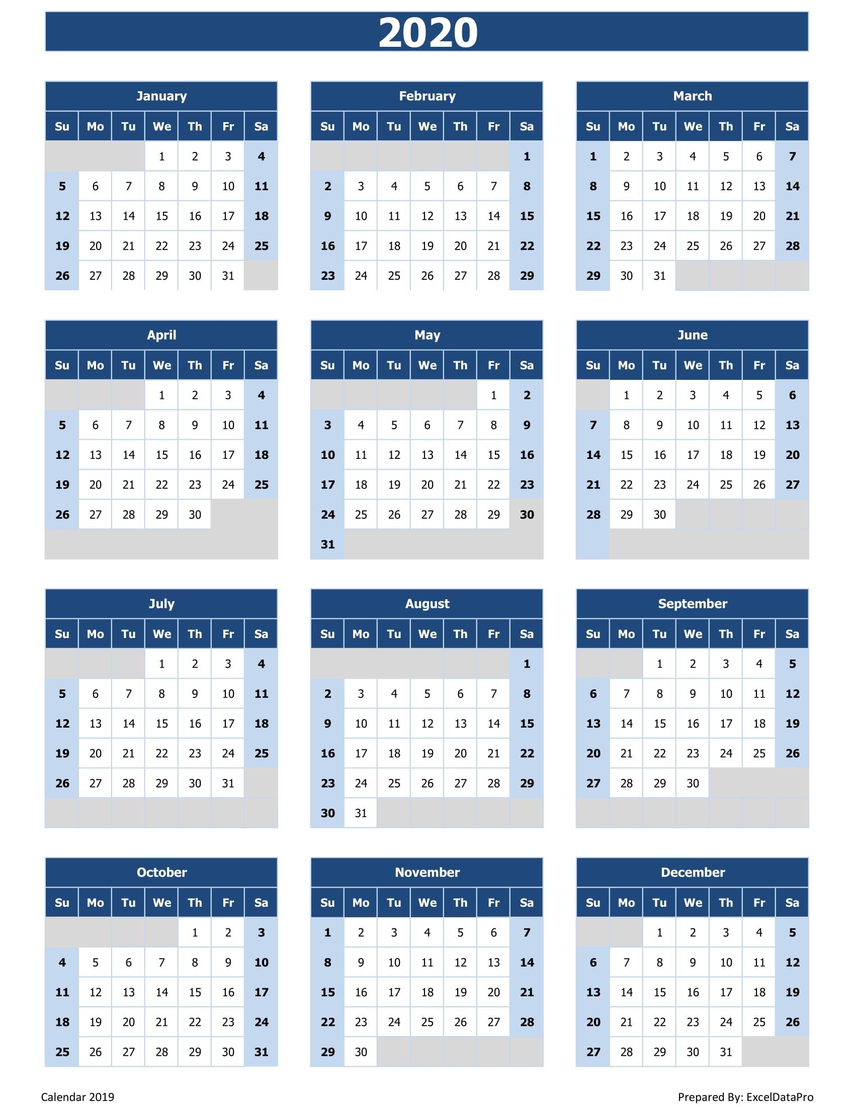 2020 Calendar - Calendar Inspiration Design