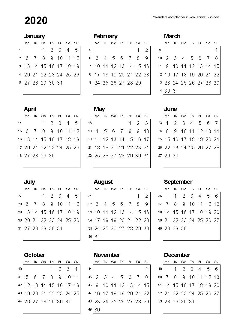 2020 Calendar Format Monday Through Friday Week | Calendar