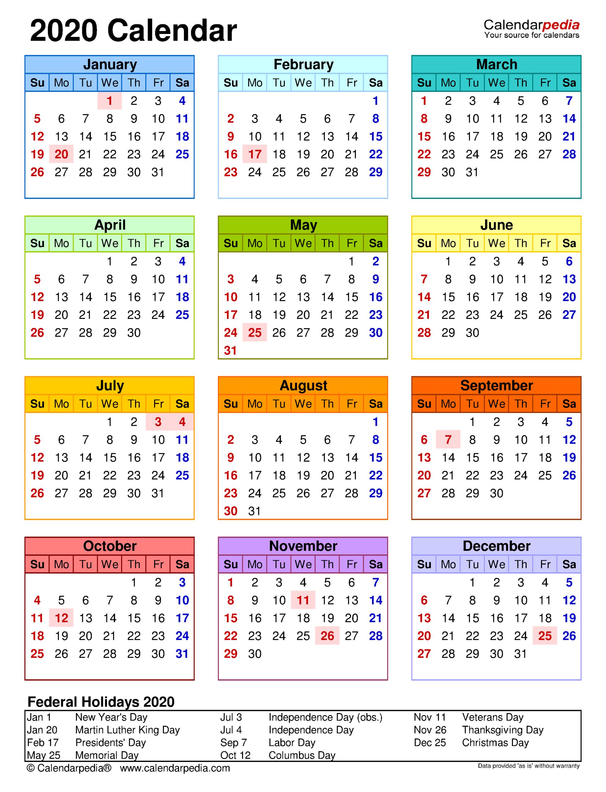 2020 Calendar | Free Printable Microsoft Word Templates