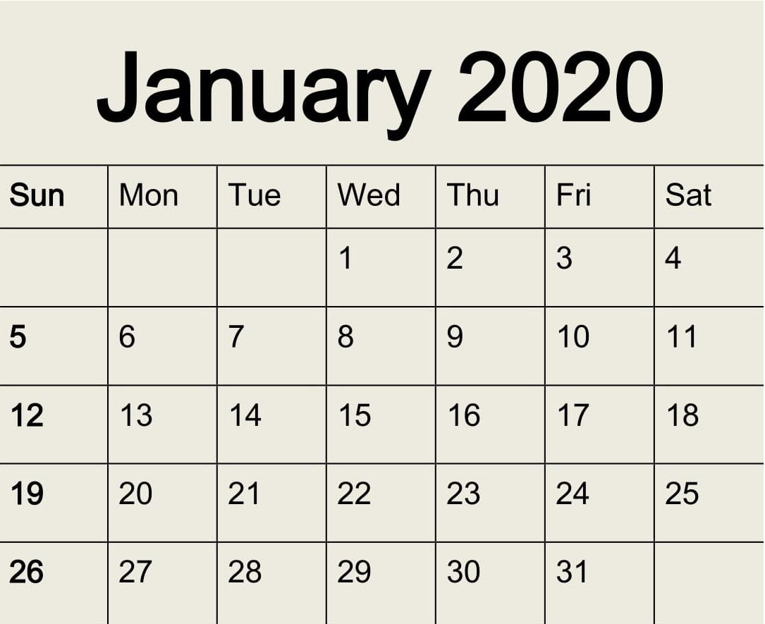 2020 Calendar Large Number Printable | Calendar Template