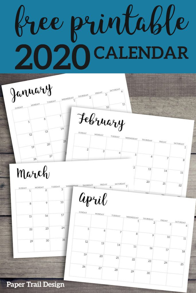 2020 Calendar Printable Free Template (With Images