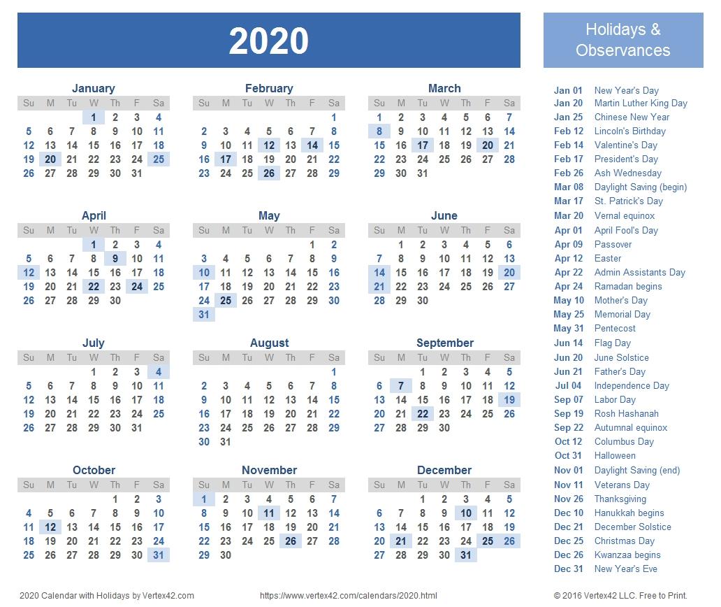 2020 Calendar Sunday Through Saturday - Calendar