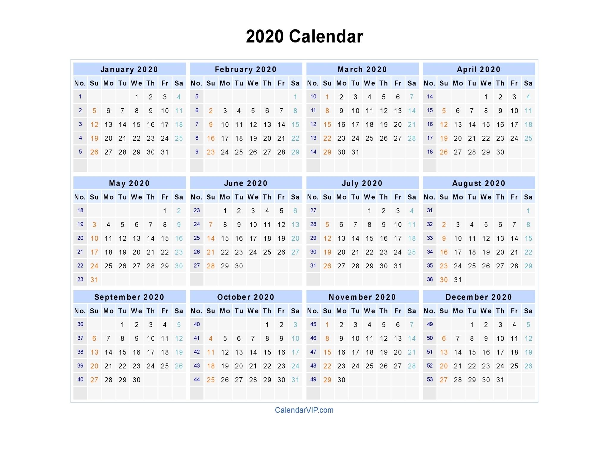2020 Calendars To Fill In - Calendar Inspiration Design
